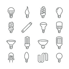 Light bulb related icons: thin vector icon set, black and white kit