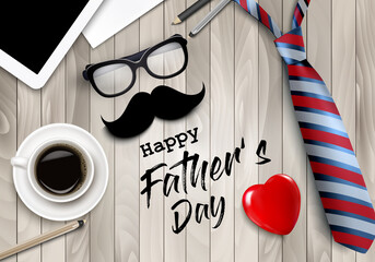 Happy Holiday Fathers Day Background. Colorful Tie, Glasses, Tablet, Office Supplies and Moustache  on wooden office table desk. Vector illustration.