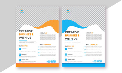 Professional trendy corporate flyer. business brochure annual vector yellow-blue clean design template layout