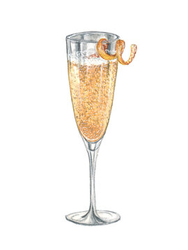 Watercolor illustration of a cocktail on a white background