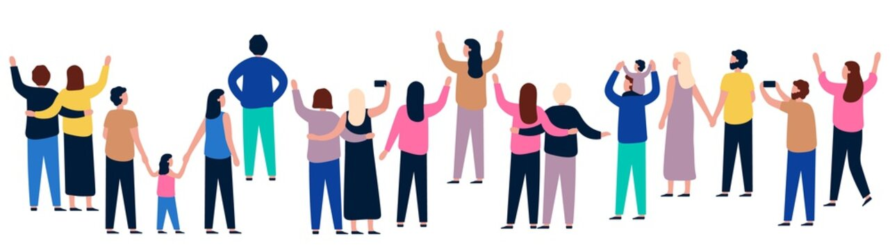 Group of people from behind. People showing and standing, gathering crowd back, illustration men and women vector