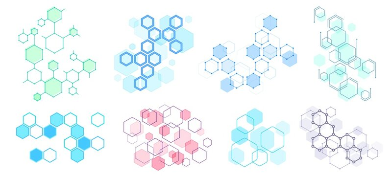 Abstract hexagonal structure. Futuristic composition, geometric hexagon network structures and honeycomb vector illustration set. Hexagon pattern structure, design molecular dna, polygon honeycomb