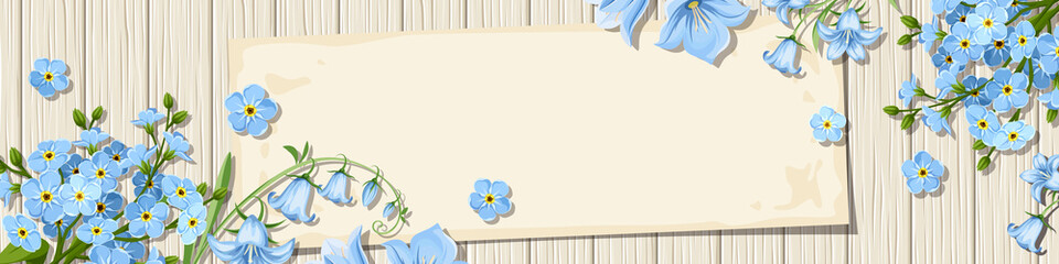 Vector banner with blue forget-me-not and bluebell flowers on a wooden background.