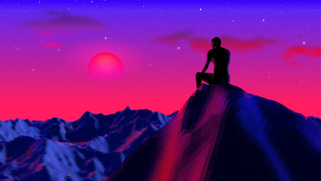 Neon colored concept with digital man sitting and thinking on the cliff with 80s synthwave style. Purple and blue mountain landscape background