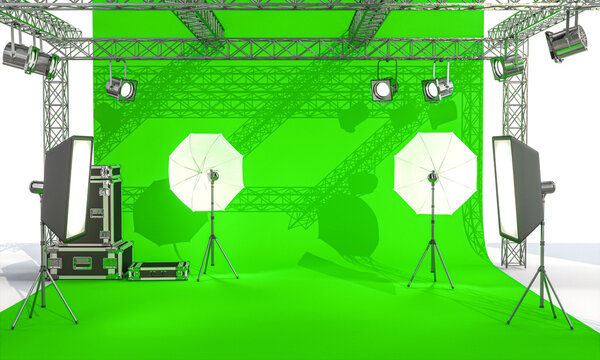 photographic set with lights and professional equipment on a green screen
