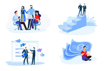 Flat design style illustrations of online earning, pay per click, consulting, partnership, our team. Vector concepts for website banner, marketing material, business presentation, online advertising.
