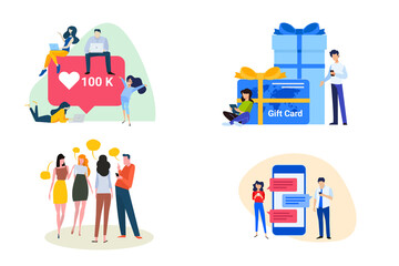 Wall Mural - Flat design style illustrations of communication, social media, shopping and gift card. Vector concepts for website banner, marketing material, business presentation, online advertising.