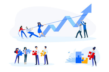 Wall Mural - Flat design style illustrations of teamwork, business opportunities and solutions, success. Vector concepts for website banner, marketing material, business presentation, online advertising.
