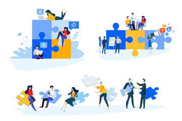 Wall Mural - Flat design style illustrations of business strategy and planning, marketing, consulting. Vector concepts for website banner, marketing material, business presentation, online advertising.