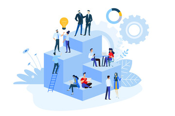 Wall Mural - Flat design style illustrations of project management, business workflow, research and development. Vector concepts for website banner, marketing material, business presentation, online advertising.