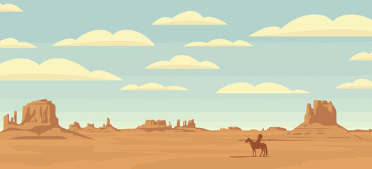 Decorative illustration with wild West prairies and the silhouette of an Indian chief on a horse. Vector landscape with a lone rider in the desert on the background of sky with clouds.