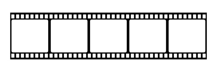 Film strip icon. Vector isolated element. Film strip roll black icon. Video tape photo film strip frame vector.