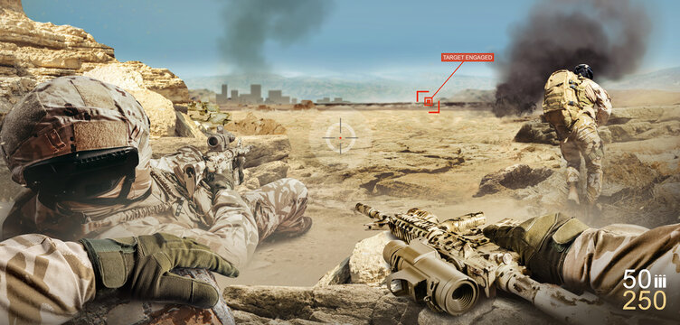 War soldier shooter game interface first person view, with soldiers attacking and shooting.