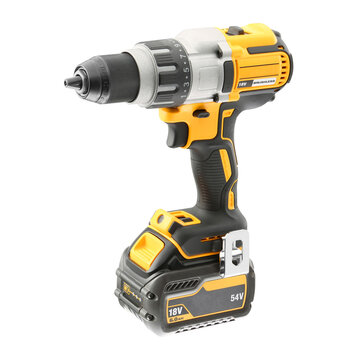 Yellow Black Electric Power Screwdriver Isolated on White. Modern Compact Cordless Drill with Brushless Motor & Speed, Torque Control. Battery Drill. Drywall Screw Gun. Electric Tool Front Side View