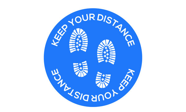 Keep your distance, with boot or feet prints , social distancing illustration to indicate or remind people to keep a minimum of 6ft to help prevent the spread of the covid-19 pandemic vector sign