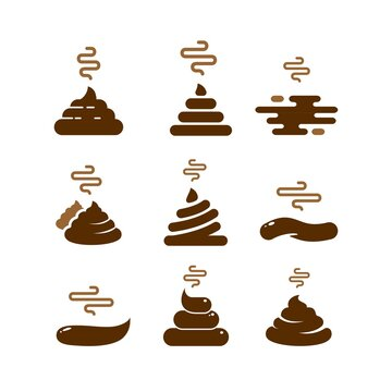 set Bunch of brown shit icon in trendy line style. vector image. Stinky Dog Poop logo symbol sign. Cartoon style poo. Vector illustration image. chocolate cream collection Isolated on white background