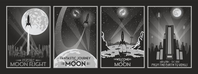 Retro Future Fantastic Movie Poster Set, Space Rockets, Moon, Art Deco Style Buildings, Cityscape Silhouettes, Monochrome Color Combinations