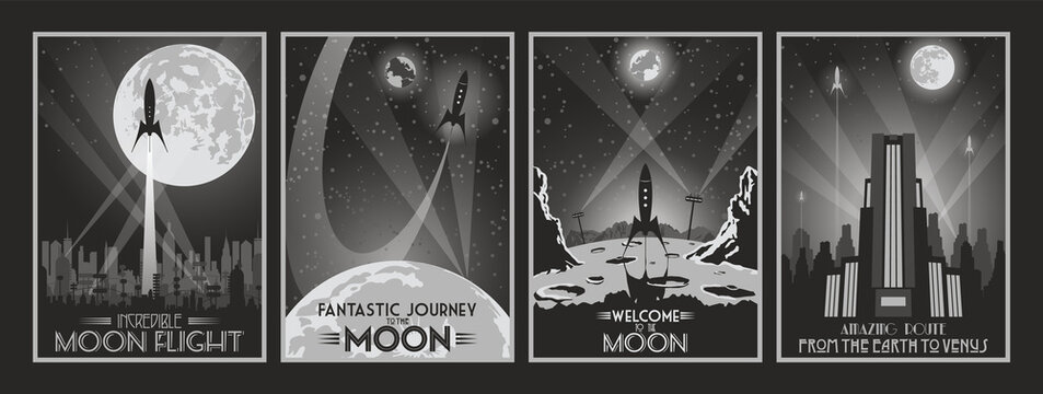 Retro Future Fantastic Movie Poster Set, Space Rockets, Moon, Art Deco Style Buildings, Cityscape Silhouettes, Monochrome Color Combinations