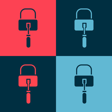 Pop art Lockpicks or lock picks for lock picking icon isolated on color background. Vector Illustration