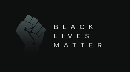 Black lives matter modern creative banner, cover, sign, design concept with revolution fist illustration, and white text on a dark background.