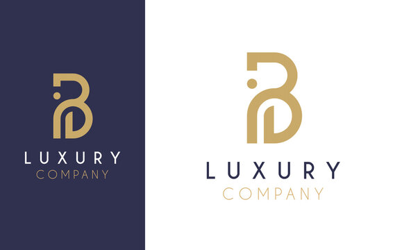 Premium Vector B Logo in two colour variations. Beautiful Logotype design for luxury company branding. Elegant identity design in blue and gold.