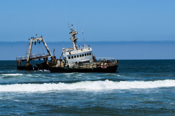 One of the ship wrecks on the Namibian coast near Walvis Bay