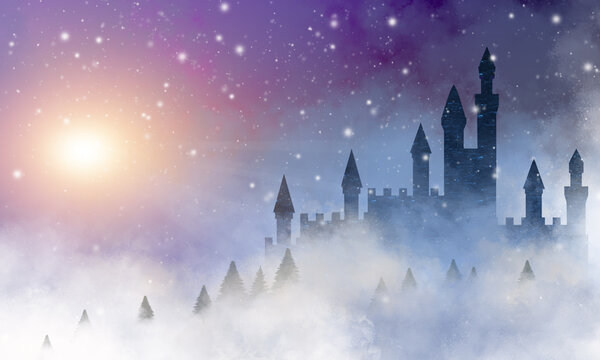 A fairytale castle silhouette on a hill surrounded by fir trees  covered in swirling clouds and snow flakes, with a surreal purple  sky and misty bright sun..