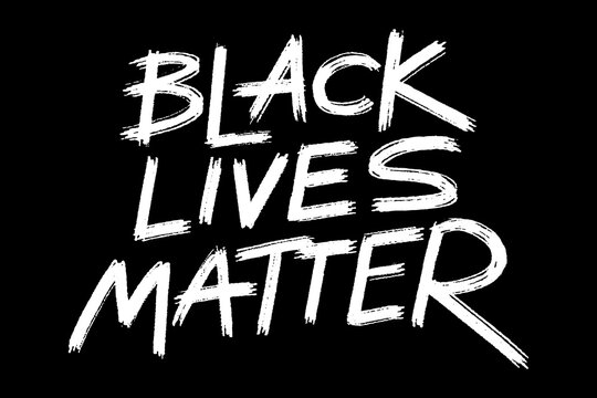African American's rights protest banner Black lives matter, grunge style lettering on the black background, ready to print template. Vector illustration.
