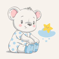 Hand drawn vector illustration of a cute baby bear in blue socks.
