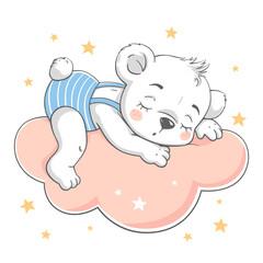 Vector illustration of a cute baby bear, sleeping on the cloud among the stars.
