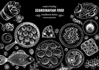 Scandinavian cuisine top view frame. Smorgasbord illustration. A set of Scandinavian dishes . Food menu design template. Vintage hand drawn sketch vector illustration. Engraved image