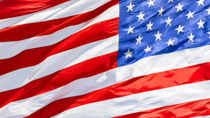 American flag waving in the wind, US flag motion close-up, United States of America national flag. USA stars and stripes