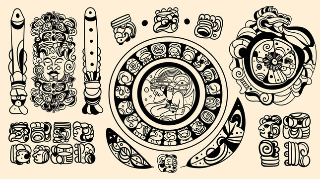 Set of intricate black Mayan tattoo designs in traditional tribal patterns isolated on an off white background, vector illustration