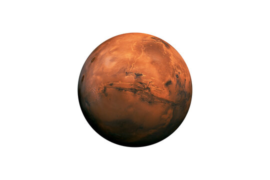 Planet Mars in the Starry Sky of Solar System in Space. This image elements furnished by NASA.