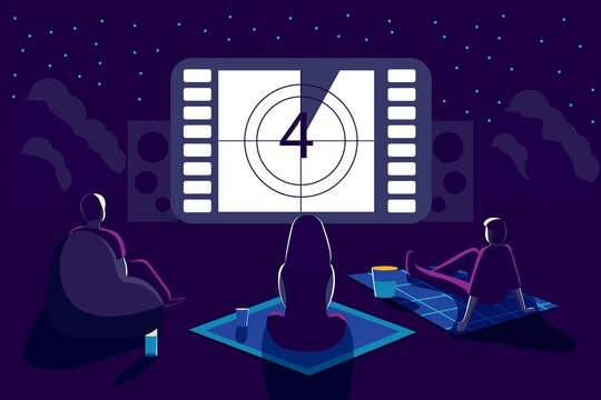 Outdoor movie theater night with friends. Watching film on big screen with sound system. Open air cinema backyard theater gear concept Vector illustration