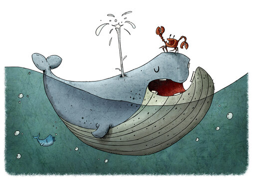 101/5000Children's illustration of a fun and colorful whale in the water, a crab is on top of it. white background