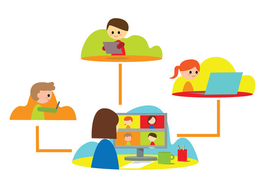 kids with teacher, online schooling, home e-learning, e-schooling, smart classes