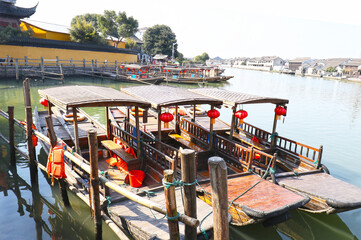 """Zhujiajiao Ancient Town,  is an ancient water village also known as the """"pearl stream."""" Best known for its bridges, built during Ming and Qing Dynasty. Shanghai, China"""