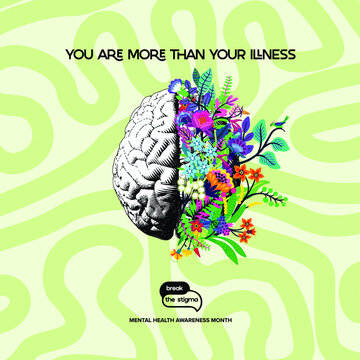 Mental health awareness, mental health awareness month, mental health quote, brain with flowers