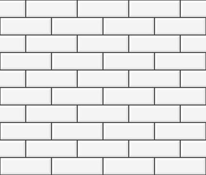 White ceramic brick wall. Long brick tile pattern.