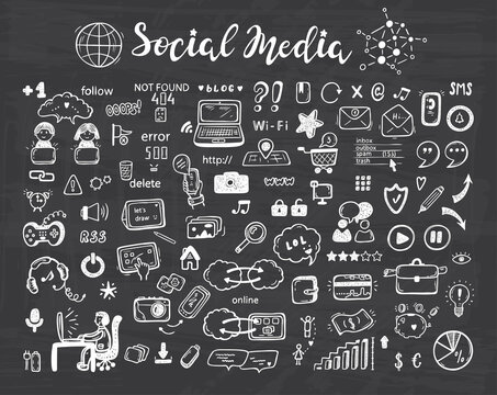 Internet of Things. Hand drawn Doodle Cloud Computing Technology and Social Media Icons Vector Set