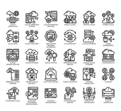 Set of cloud service thin line and pixel perfect icons for any web and app project.