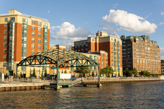 Yonkers, NY / United States - Aug. 10, 2019: A view of Yonker's waterfront