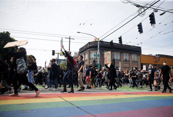 Rally and march calling for a defunding of Seattle police, in Seattle
