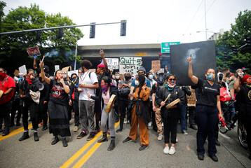 Rally and march calling for a defunding of Seattle police in Seattle