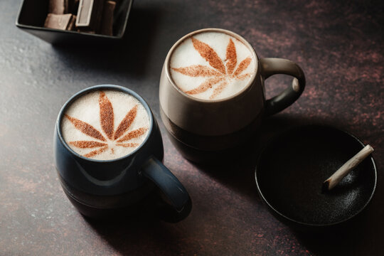 CBD Cannabis coffee with vape and joint. chill out vibes with CBD beverages, edibles and cannabis smoking. Made with indica sativa hybrid.