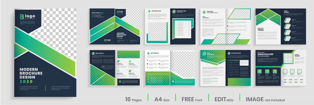 Gradient modern brochure template layout design, elegant business profile layout, 16 pages, annual report, multipage brochure template layout.