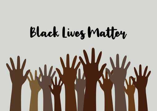 """Concept image of the Black Lives Matter"""" socio-political movement that is fighting for a better integration of minorities in the American USA US society and the stop of police brutality"""
