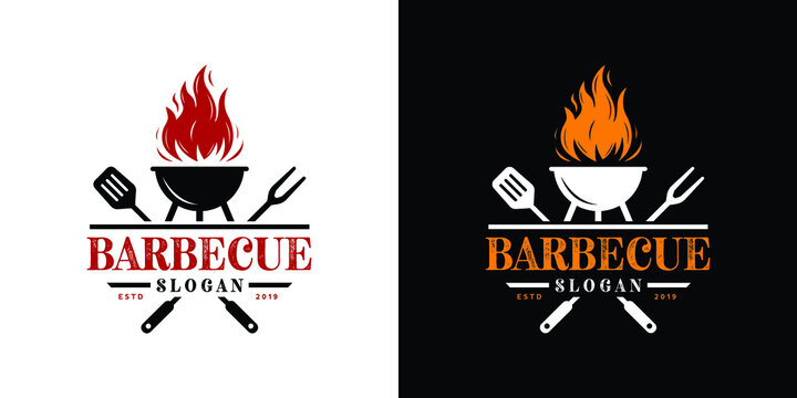 Barbecue restaurant - Logo icon of Barbecue, Grill and Bar with fire, grill fork and spatula. BBQ logo template. Vector illustration