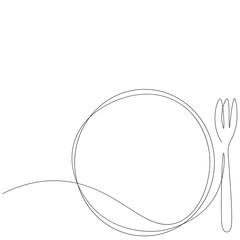 Fototapeta Restaurant menu card design with plate and fork. Vector illustration